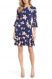 Eliza J Floral Bell Sleeve Dress  Regular   Petite at Nordstrom
