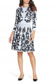 Eliza J Floral Fit  amp  Flare Sweater Dress   Nordstrom at Nordstrom