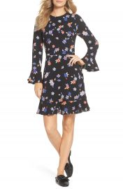 Eliza J Floral Flare Cuff Dress at Nordstrom
