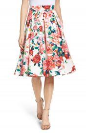 Eliza J Floral Midi Skirt at Nordstrom