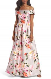 Eliza J Floral Off the Shoulder Mikado Gown at Nordstrom