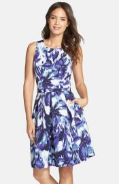 Eliza J Floral Print Faille Fit andamp Flare Dress at Nordstrom