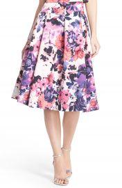 Eliza J Floral Print Faille Midi Skirt at Nordstrom