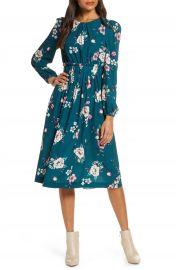 Eliza J Floral Print Long Sleeve Midi Dress  Regular  amp  Petite    Nordstrom at Nordstrom