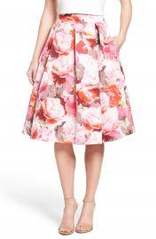 Eliza J Floral Print Pleated Midi Skirt at Nordstrom