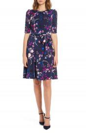 Eliza J Floral Print Ruched Sleeve Fit  amp  Flare Dress  Regular  amp  Petite    Nordstrom at Nordstrom