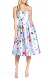 Eliza J Floral Print Satin Cocktail Dress   Nordstrom at Nordstrom