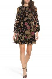 Eliza J Floral Print Velvet Shift Dress  Regular  amp  Petite at Nordstrom