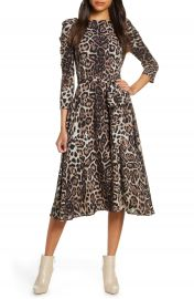 Eliza J Leopard Print Long Sleeve Midi Dress  Regular  amp  Petite    Nordstrom at Nordstrom
