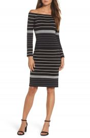 Eliza J Off the Shoulder Stripe Sheath Dress at Nordstrom