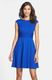 Eliza J Pintucked Waist Seamed Ponte Knit Fit   Flare Dress at Nordstrom