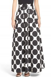 Eliza J Pleat Polka Dot Faille Ball Skirt at Nordstrom