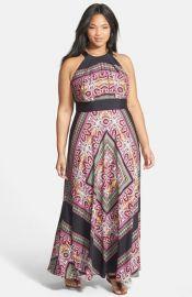 Eliza J Scarf Print Halter Maxi Dress at Nordstrom
