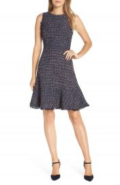 Eliza J Sleeveless Tweed Fit  amp  Flare Dress  Regular  amp  Petite at Nordstrom