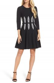 Eliza J Three-Quarter Sleeve Fit   Flare Dress at Nordstrom