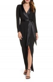 Eliza J Tuxedo Faux Wrap Long Sleeve Gown   Nordstrom at Nordstrom