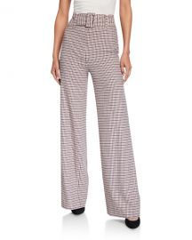 Eliza Wide-Leg Check Pants at Bergdorf Goodman