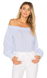 Elizabeth and James Geneva Off the Shoulder Top in Blue  amp  White from Revolve com at Revolve