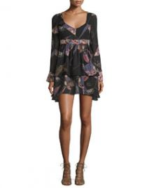 Elizabeth and James Lilou Long-Sleeve Printed Dress BlackMulti at Neiman Marcus