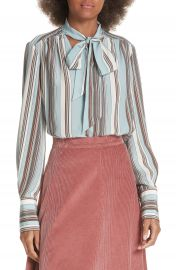 Elizabeth and James Mimi Tie Neck Stripe Silk Blouse at Nordstrom