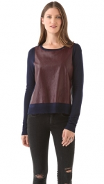Elizabeth and James leather sweater worn on HIMYM at Shopbop