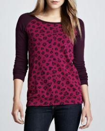 Ella Moss Leopard-Print Raglan Sweatshirt Wine at Neiman Marcus