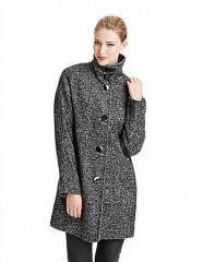 Ellen Tracy Funnel Neck Tweed Coat at Lord & Taylor