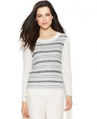 Ellen Tracy Long-Sleeve Striped Sweater - Women - Macys at Macys