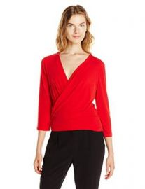 Ellen Tracy Womenand39s 34 Sleeve Wrap Top Solid Vermillion X-Small at Amazon