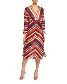 Elliatt Edie V-Neck 3 4-Sleeve Striped Dress at Neiman Marcus