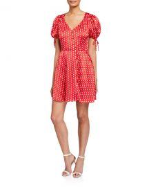 Elliatt Mona Polka Dot V-Neck Short-Sleeve Dress at Neiman Marcus