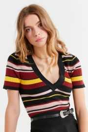 Ellis V-neck Short-Sleeve Sweater by Urban Outfitters at Urban Outfitters