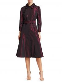 Embellished Collar Taffeta A-Line Shirt Dress at Saks Fifth Avenue