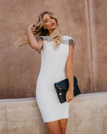 Embellished Cape Bodycon Dress by Vici Ritzy at Vici Collection
