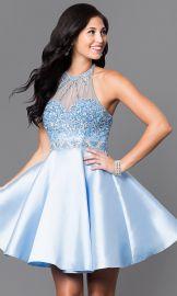 Embellished Illusion Sweetheart Circle Skirt Short Dress at Prom Girl