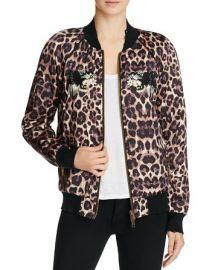 Embellished Leopard Silk Bomber Jacket by Pam & Gela at Bloomingdales