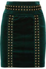 Embellished Velvet Mini Skirt by Pierre Balmain at Net A Porter