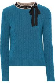 Embellished cable-knit wool sweater by RED Valentino at The Outnet