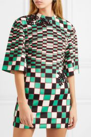 Embellished checked stretch-scuba mini dress at Net A Porter