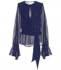Embellished chiffon blouse at Mytheresa
