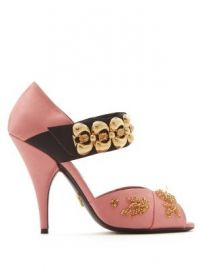 Embellished cross-strap satin sandals at Matches