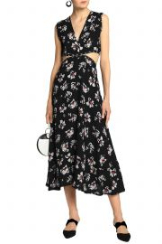 Embellished cutout floral-print crepe midi dress at The Outnet
