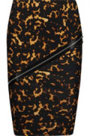 Embellished printed stretch-cotton skirt at The Outnet