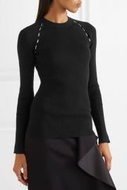 Embellished ribbed-knit sweater by Mugler at Net A Porter