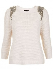 Embellished shoulder sweater by Topshop in white at Nordstrom
