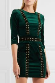 Embellished stretch cotton-blend velvet mini dress at Net A Porter
