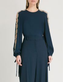 Embellished stretch-silk top by Oscar De La Renta at Selfridges