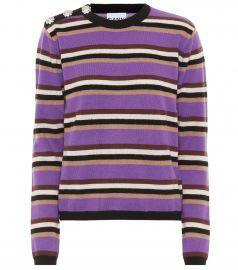 Embellished striped cashmere sweater at Mytheresa