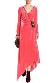Embellished velvet wrap midi dress at The Outnet