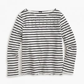 Embellished-yoke striped T-shirt in black at J. Crew